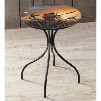 Evening Surprise Metal Side Table with Printed Top by Terry Redlin
