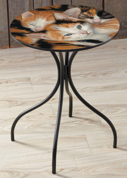 Who's Who Kittens Metal Side Table with Printed Top by John Aldrich