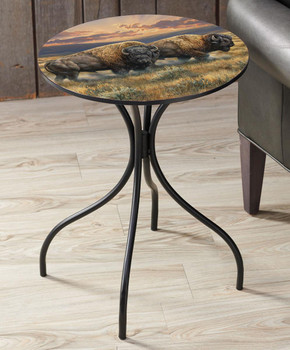 Dusty Plains Bison Metal Side Table with Printed Top by Rosemary Millette