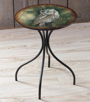 Screech Owl Bird Metal Side Table with Printed Top by Rosemary Millette