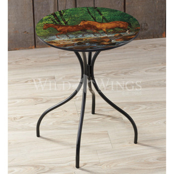 Spring Creek Run Horses Metal Side Table with Printed Top by Chris Cummings