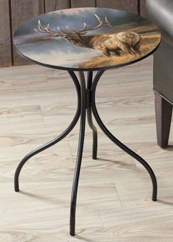 Autumn Mist Elk Metal Side Table with Printed Top by Rosemary Millette