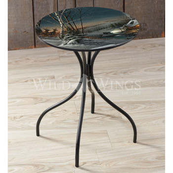 Evening with Friends Metal Side Table with Printed Top by Terry Redlin
