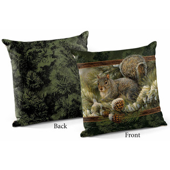 """18"""" Gray Squirrel Decorative Square Throw Pillows, Set of 4"""