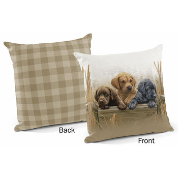 """18"""" All Hands on Deck Puppies Decorative Square Throw Pillows, Set of 4"""