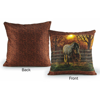 "18"" Lighted Quiet Time Horses Decorative Square Throw Pillows, Set of 2"