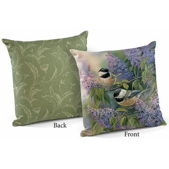 "18"" Chickadee Birds and Lilacs Decorative Square Throw Pillows, Set of 4"
