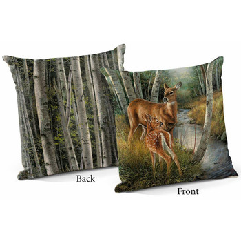 "18"" Birch Creek Whitetail Deer Decorative Square Throw Pillows, Set of 4"