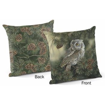 "18"" Screech Owl Bird Decorative Square Throw Pillows, Set of 4"