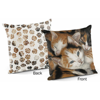 "18"" Who's Who Kittens Decorative Square Throw Pillows, Set of 4"