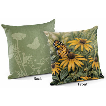 """18"""" Monarch Butterfly Decorative Square Throw Pillows, Set of 4"""