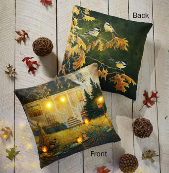 """18"""" Lighted October Night Scenic Decorative Square Throw Pillows, Set of 2"""