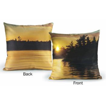 "18"" Setting Sun Lake Scenic View Decorative Square Throw Pillows, Set of 2"