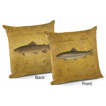 """18"""" Brown Trout and Rainbow Trout Decorative Square Throw Pillows, Set of 4"""