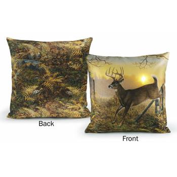 "18"" Sunrise Retreat Whitetail Deer Decorative Square Throw Pillows, Set of 2"