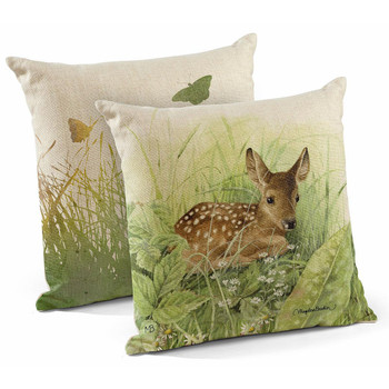 """18"""" Waiting for Mom Fawn Decorative Square Throw Pillows, Set of 4"""