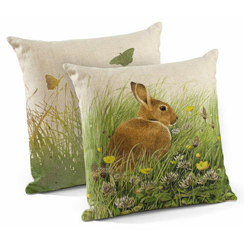 "18"" Grabbing a Bite Bunny Decorative Square Throw Pillows, Set of 4"