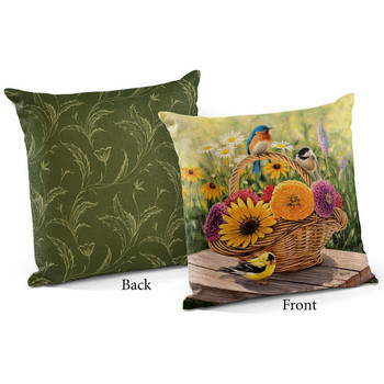 """18"""" Summer Bouquet Birds and Flowers Decorative Square Throw Pillows, Set of 4"""