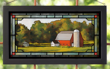 Grandpa's Barn Stained Glass Wall Art