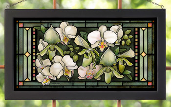 New Year Orchids Stained Glass Wall Art