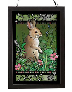 Snowshoe Bounty Rabbit Stained Glass Wall Art