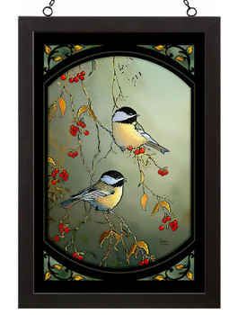 Autumn Chickadee Birds Stained Glass Wall Art