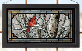 Left in the Cold Cardinal Bird Stained Glass Wall Art