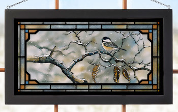 Resolve to Winter Chickadee Birds Stained Glass Wall Art