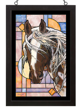 Wambli Okiye Suktanka Horse Stained Glass Wall Art