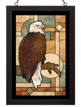 The Guardian Bald Eagle Bird Stained Glass Wall Art