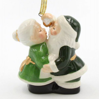 Irish Kissing Santa Couple Christmas Tree Ornaments, Set of 2