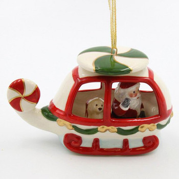 Santa in a Helicopter Christmas Tree Ornaments, Set of 2