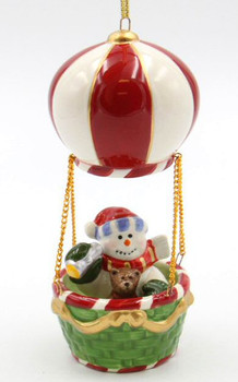 Snowman in a Hot Air Balloon Christmas Tree Ornaments, Set of 2