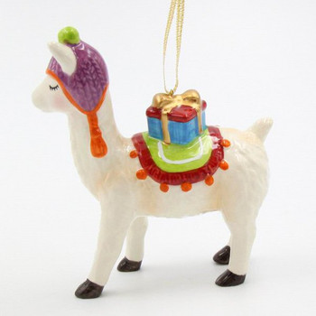 Llama with a Gift Christmas Tree Ornaments, Set of 4