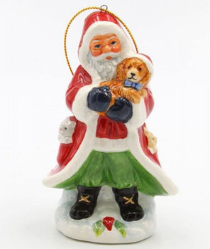 Santa Holding a Dog Christmas Tree Ornaments, Set of 4