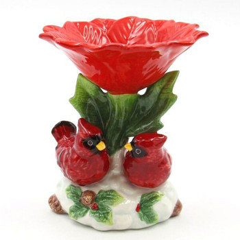 Cardinal Bird Candy Dishes with Red Flower and Holly, Set of 2