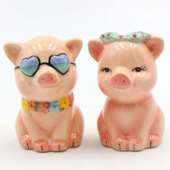 Happy Pigs Ceramic Salt and Pepper Shakers, Set of 4