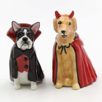 Devil and Dracula Dog Ceramic Salt and Pepper Shakers, Set of 4
