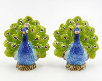 Blue Peacock Ceramic Salt and Pepper Shakers, Set of 4