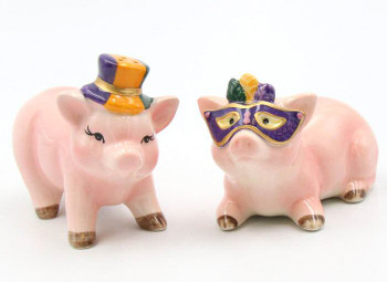 Mardi Gras Pigs Ceramic Salt and Pepper Shakers, Set of 4