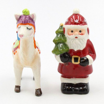 Santa with Llama Ceramic Salt and Pepper Shakers, Set of 4