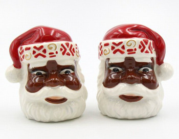 First Light African American Santa Ceramic Salt and Pepper Shakers, Set of 4