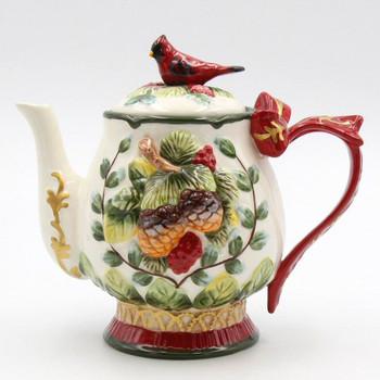 Evergreen Holiday Porcelain Teapot with Cardinal Bird and Pinecones