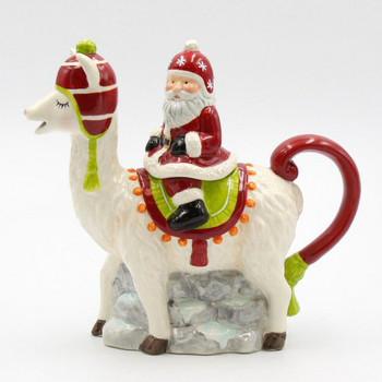 Santa Riding a Llama Porcelain Teapot
