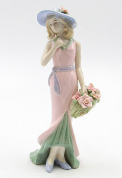 Lady with Rose Basket in Pink Dress Porcelain Sculpture