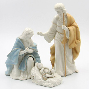 Joseph Mary Baby Jesus Porcelain Nativity Sculptures, Set of 3