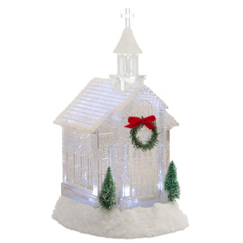 """10.5"""" Church with a Wreath and Christmas Trees Acrylic Snow Globe with 6 Hour Timer"""