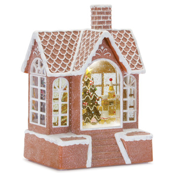 """9"""" Gingerbread Man House Plastic Snow Globe with 6 Hour Timer"""
