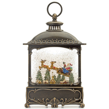 """12"""" Santa with Sled and Two Reindeer Plastic Snow Globe Lantern with 6 Hour Timer"""
