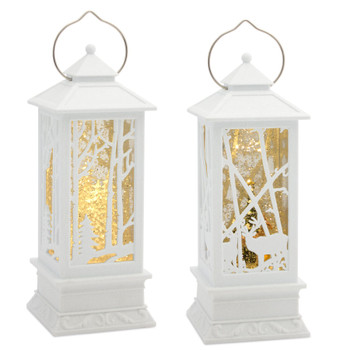 """12.25"""" Deer and Tree LED Plastic Snow Globe Lanterns, Set of 2 with 6 Hour Timer"""